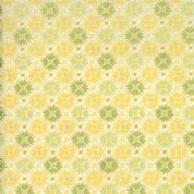 Moda Sunnyside, Kate Spain - 2865 - Buttercup Yellow/Green Small Geometric Floral on White Background - 100% Cotton Fabric